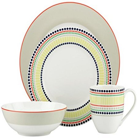 kate spade new york Hopscotch 4-piece Place Setting, - Taupe 5 Piece Place Setting