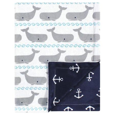 Milk Baby Blanket (Hudson Baby Reversible Mink Blanket, Whales )