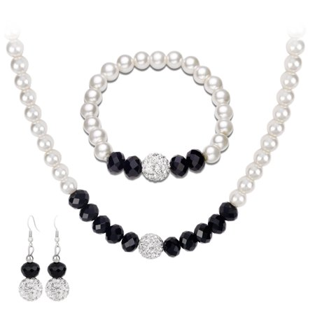 KABOER Women Lady Black Beads and White Faux Pearls Necklace Earring Bracelet Jewelry Set Imitation Pearls Imitation Crystal Choker for Brides Pearl Choker Set