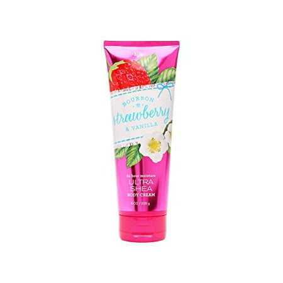 bath & body works ultra shea body cream bourbon strawberry & vanilla 8oz