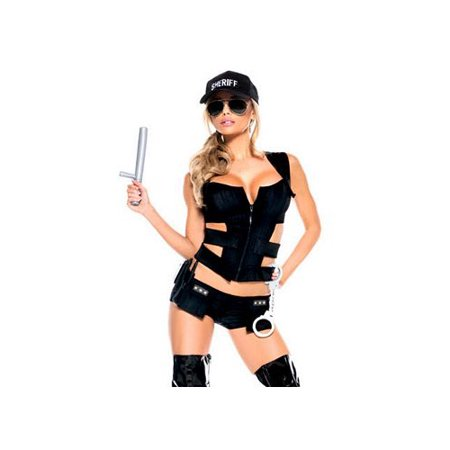 Be Wicked Sexy Sheriff 7 Piece Costume Bw988 Black