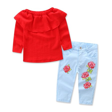 2PCS Toddler Kids Baby Girls Outfits Set Red Off Shoulder T-shirt Tops+Denim Pants Jeans Clothes 1-2 -