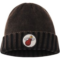 Miami Heat Mitchell & Ness Current Logo Ribbed Knit Hat - Brown - OSFA