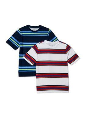 Wonder Nation Boys 4-16 & Husky Short Sleeve Striped T-Shirt, 2-Pack