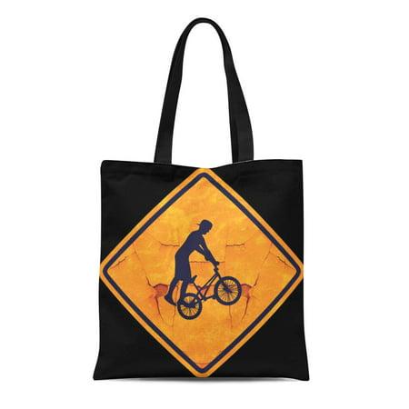 POGLIP Canvas Tote Bag Biking Bmx Caution Sign Urban Funny Cool Street Freestyle Reusable Handbag Shoulder Grocery Shopping Bags - image 1 de 1