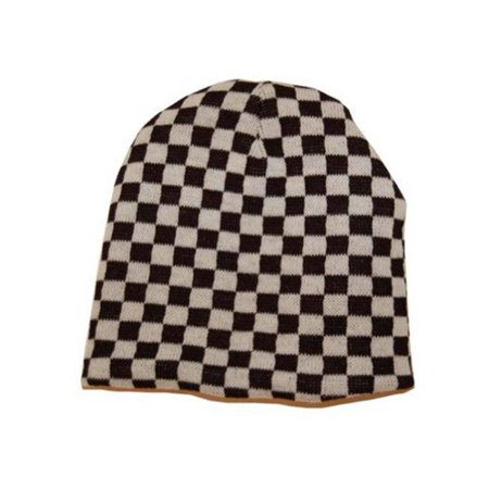 Black And White Checkered Hat (Reversable Black White Checker Beanie Cap -)
