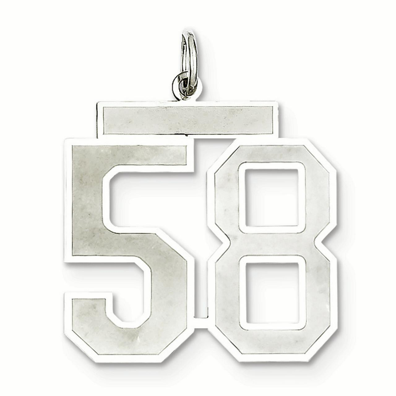 Lex & Lu Sterling Silver Large Satin Number 58