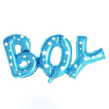 Unique Bargains Foil Star Print Boy English Letter Shaped Balloon Birthday Party Blue 26 Inch