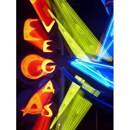 Neon Vegas Sign at Night, Downtown, Freemont East Area, Las Vegas, Nevada, USA, North America Print Wall Art By Gavin