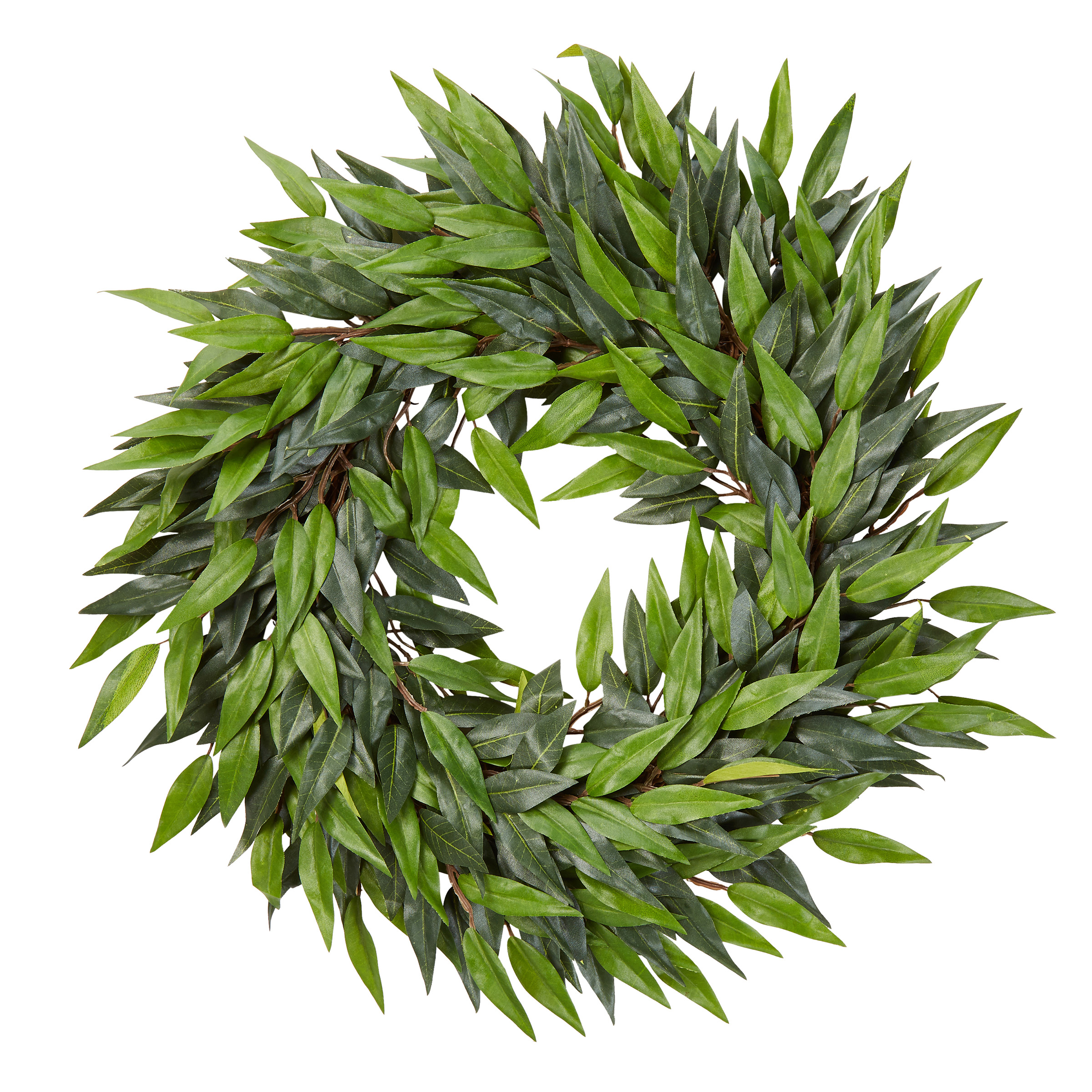 Pure Garden Artificial Ficus Microphylla Leaf Wreath – Indoor Lifelike Round Faux Greenery 18""