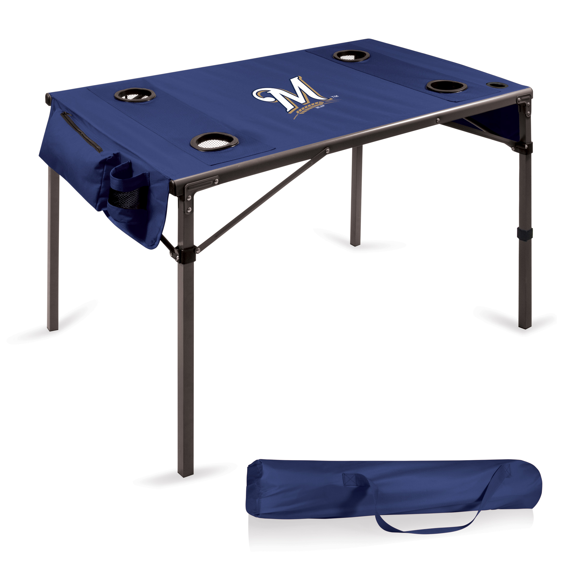 Milwaukee Brewers Portable Folding Travel Table - Navy - No Size