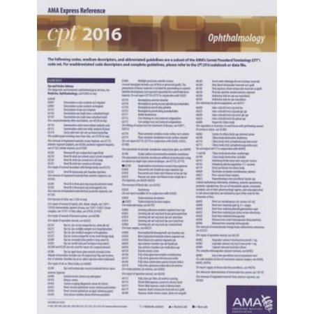 CPT 2016 Express Reference Coding Card Ophthalmology