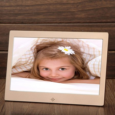 10 Inch Metal LED Digital Photo Frame Video Music Calendar Clock Player 1024x600 Resolution 109 champagne gold US (109 Us Layout)