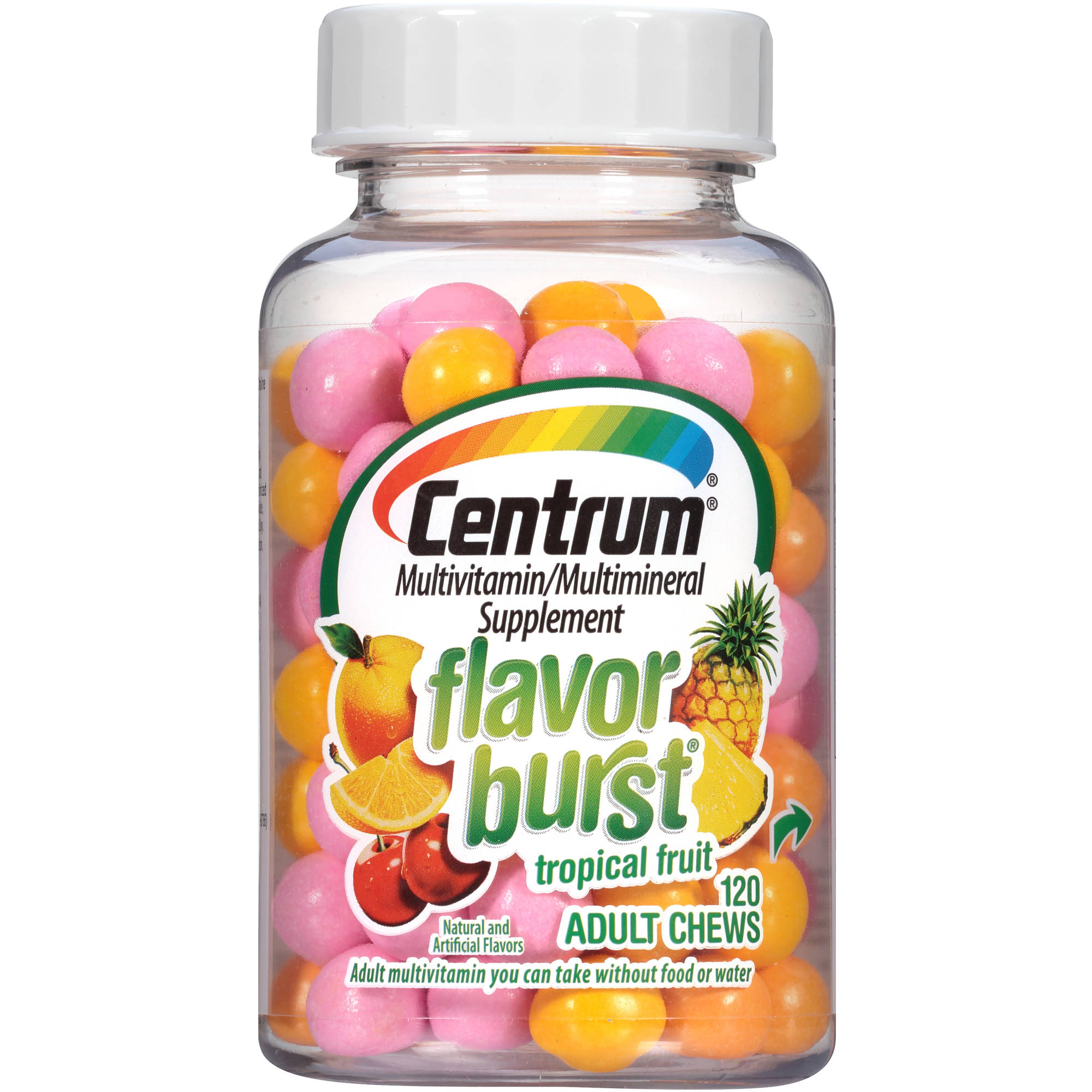 Centrum Flavor Burst Adult Multivitamin/Multimineral Supplement Chews in Tropical Fruit Flavor 120 Count