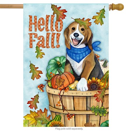 Hello Fall Dog House Flag Leaves Puppy Autumn 28