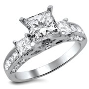 Noori Collection Noori 14k White Gold 1 3/4 ct TDW Certified Enhanced Princess-cut Diamond Engagement Ring
