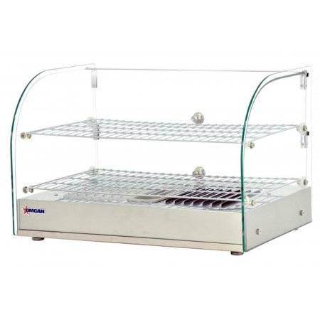 Hot Foods Display Curved Glass (Omcan Countertop Display Warmer with Front Curved Glass and 2 Rear Hinged Doors )
