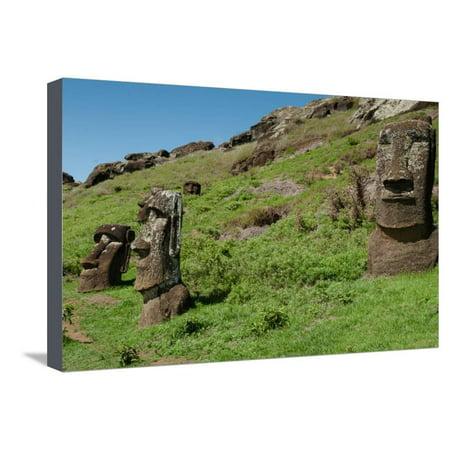 Rapa Nui Statues (Statues on Isla De Pascua. Rapa Nui. Easter Island Stretched Canvas Print Wall Art By Vladimir Krupenkin )