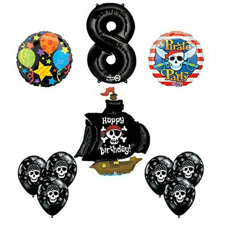Black Pirate Ship 8th Birthday Party Supplies and Balloon Decorations