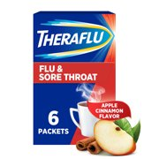 Theraflu Cold, Flu and Sore Throat Relief Powder, Apple Cinnamon, 6 Packets