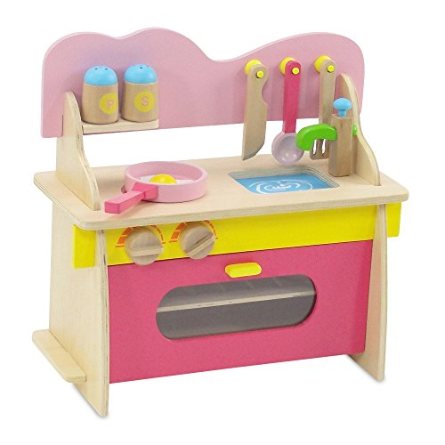 18-inch Doll Furniture | Pink Multicolored Wooden Kitchen Set with Oven, Stove, Sink and... by Emily Rose Doll Clothes