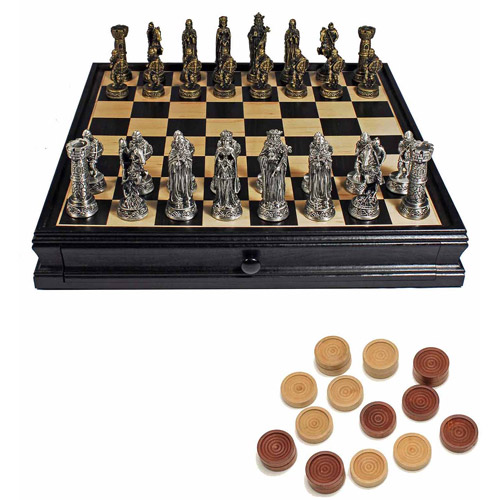 Medieval Chess and Checkers Game Set, Pewter Chessmen and Black Stained Wood Board with Storage Drawers, 15""