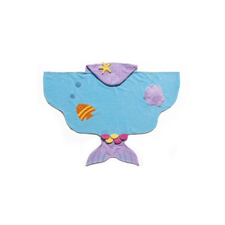Kidorable Little Girls Blue Mermaid Cotton Soft Absorbent Hooded Towel M](Little Mermaid Towel)
