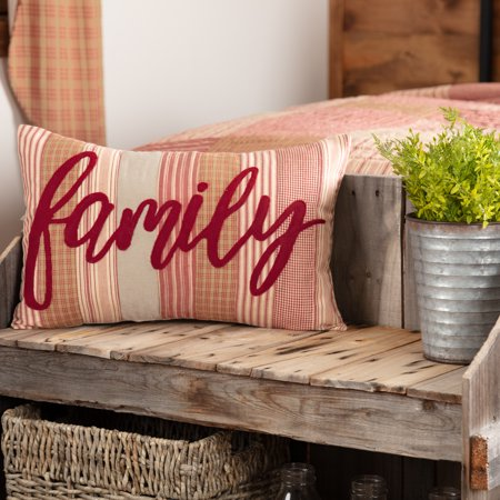 Country Red Farmhouse Bedding Miller Farm Family Cotton Appliqued Chambray  Text Rectangle 14x22 Pillow (Pillow Cover, Pillow Insert)