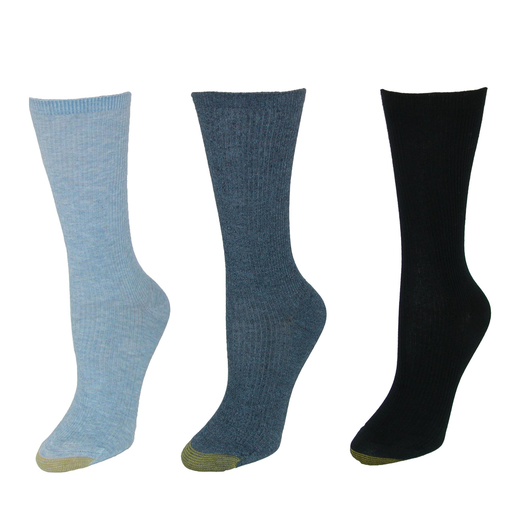 2 Pack    634-WOMENS-9-11 HealthTrak Women/'s No-Bind Comfort Top Crew Socks