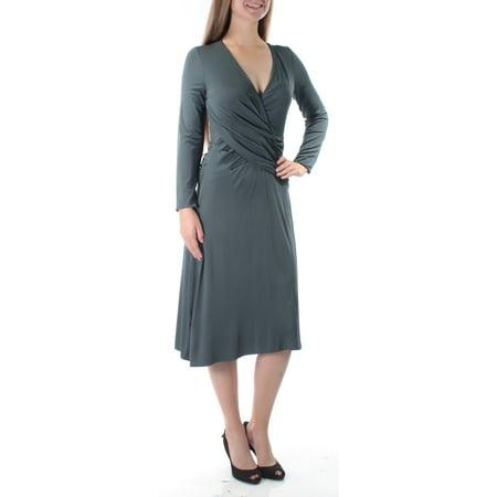 ARMANI Womens Gray Long Sleeve V Neck Below The Knee Faux Wrap Dress  Size: 6