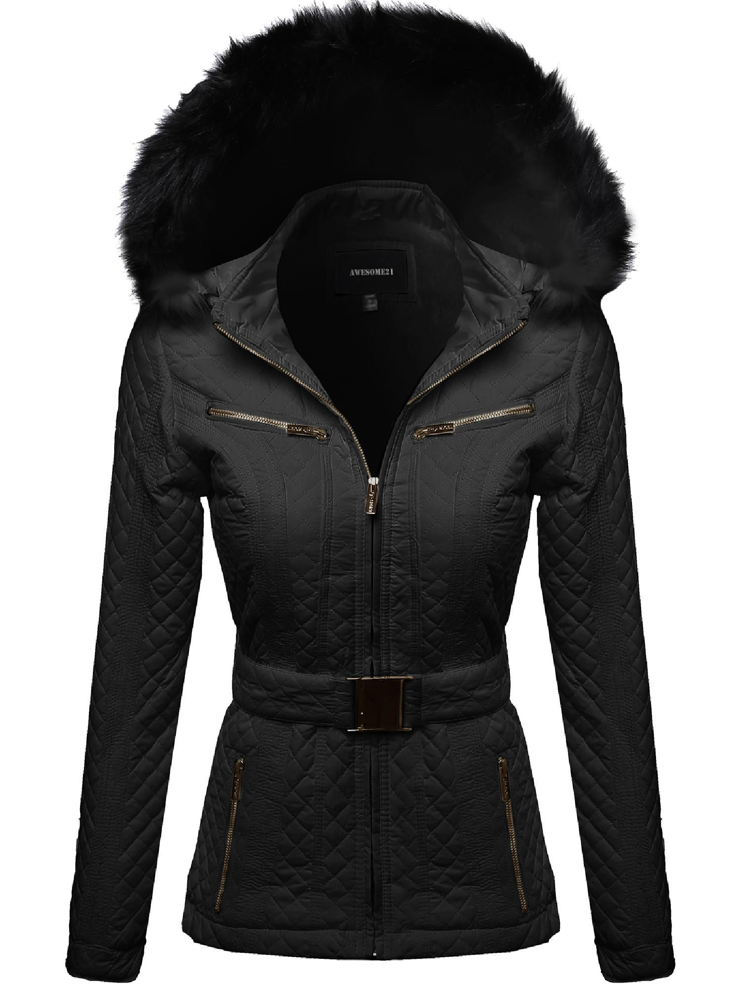 FashionOutfit Women's Quilted Fur Lined Lux Gold Zippered Parka by