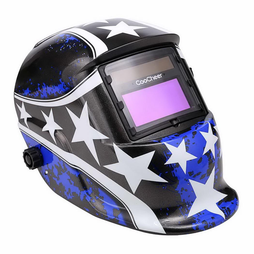 Click here to buy Solar Powered Welding Helmet Auto Darkening Hood with Adjustable Shade Range 4 9-13 for Mig Tig Arc Welder Mask.