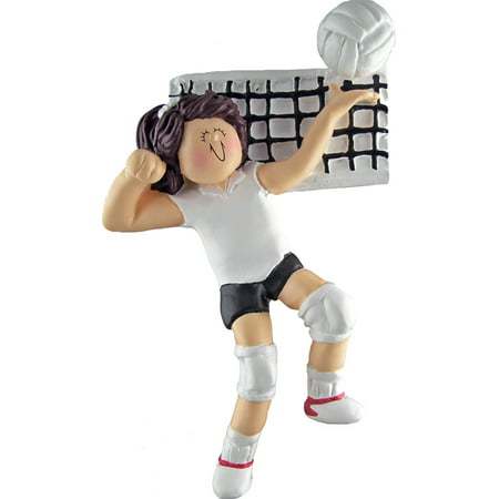 Volleyball Female Brown Personalized  Christmas Ornament - Personalized Volleyball