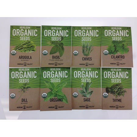 Organic, Heirloom, Non-GMO, Herb Garden Seeds - 8 Variety Kitchen Herbal Gardening Assortment - Arugula, Basil, Chives, Cilantro, Dill, Oregano, Sage,