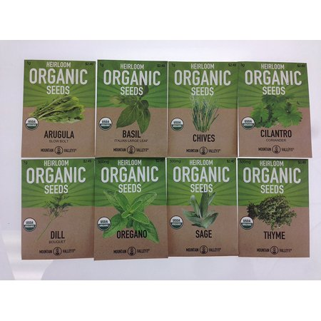 Organic, Heirloom, Non-GMO, Herb Garden Seeds - 8 Variety Kitchen Herbal Gardening Assortment - Arugula, Basil, Chives, Cilantro, Dill, Oregano, Sage, Thyme ()