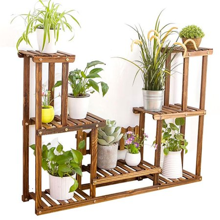 7 Tier Plant Stand Wooden Stands Pot Shelf For Indoors And Outdoor Yard Decor Flower Rack