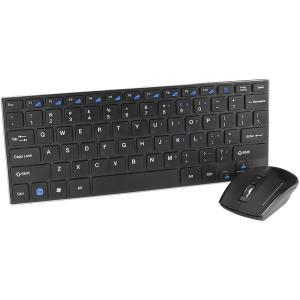 SIIG Wireless Slim-Duo Keyboard & Mouse Combo - Retail - USB 2.0 78 Key - English (US) - Black - USB 2.0 Wireless Optical - 1600 dpi - 4 Button - Scroll Wheel - QWERTY - Black - AAA - Compatible