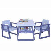 Akoyovwer 3 Pieces Kids Table and Chairs Sets 2-8,Toddler Table Chair Sets Best for Toddlers Lego, Reading, Train, Art Play-Room,Light Blue