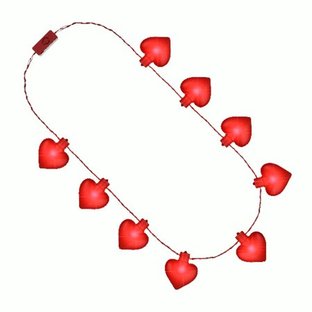 Jumbo Red Heart Shaped Light Up Jewelry Necklace For Valentines - Light Up Necklace