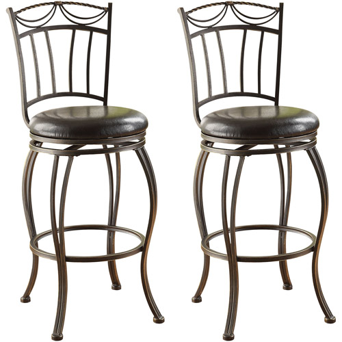 Acme Tavio Swivel Bar Chair Set Of 2 Saddle Walmart Com