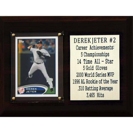 C&I Collectables MLB 6x8 Derek Jeter New York Yankees Career Stat Plaque Derek Jeter Autographed Mlb Baseball