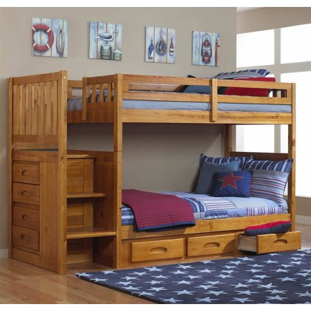Twin Over Twin Bunk Bed In Honey Finish Walmart Com
