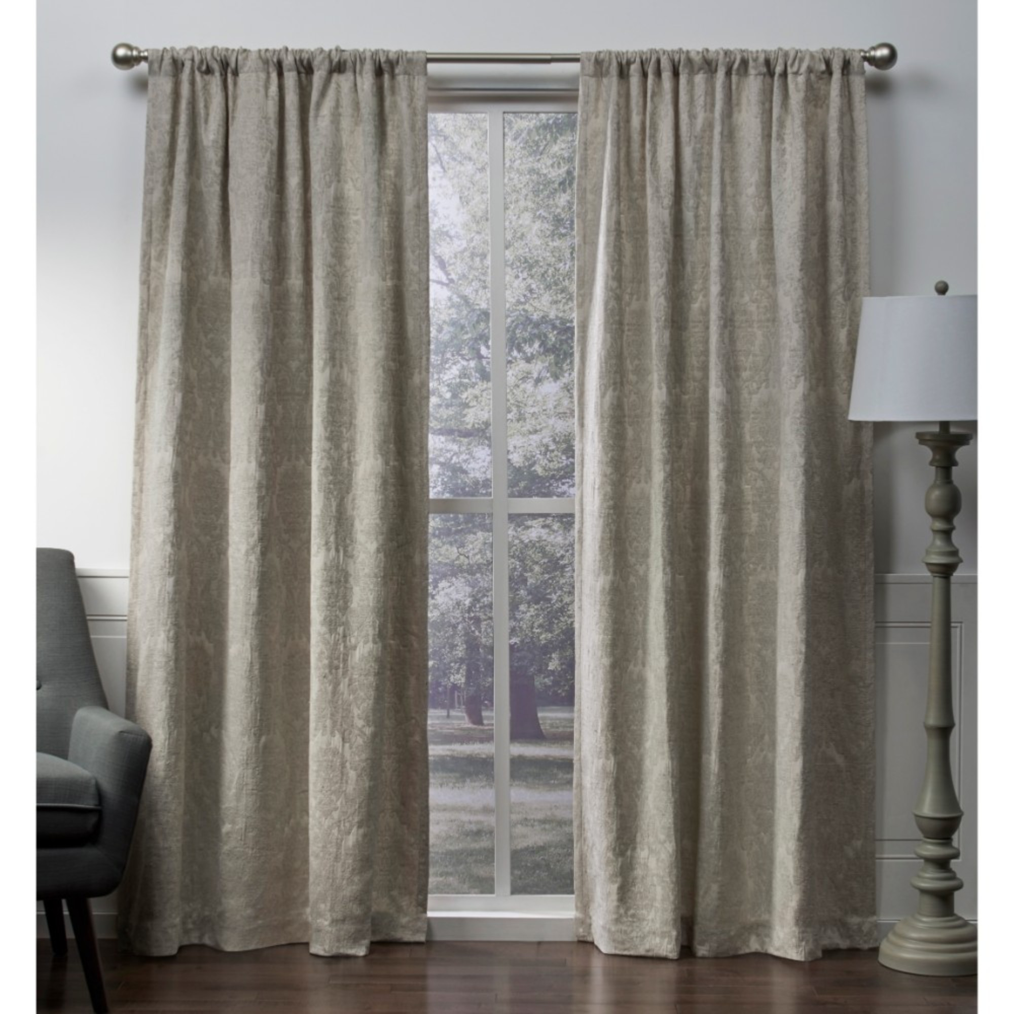 Exclusive Home Curtains 2 Pack Damask Chenille Heavyweight Jacquard Medallion Rod Pocket Curtain Panels