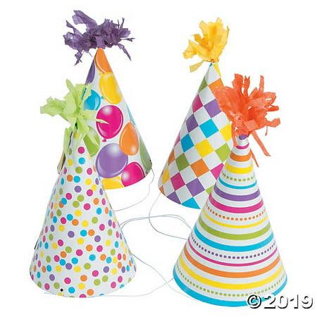 Fun Print Birthday Cone Hats