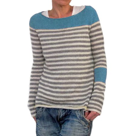 Women's Plus Size Stripe Long Sleeve Casual Warm Holiday Pullover Tops Sweaters