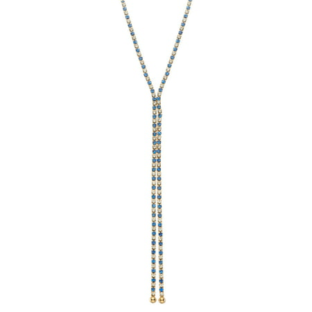 X & O 14KT Gold Plated single row X-shape necklace in Sapphire and White Crystal Combination *** ()