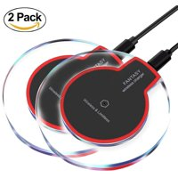 GLiving 2Pcs Wireless Charger  Qi Certified Wireless Charging Pad for Galaxy S9+ S9 Note 8, Compatible iPhone X 8 Plus 8 and All Qi-Enabled Phones (NO Adapter)