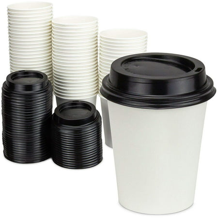 [100 Pack] 8 Oz Disposable White Paper Cups with Black Lids -On the Go Hot and Cold Beverage All-Purpose Sampling Portion Cup for Coffee, Espresso, Cortado, Latte, Cappuccino and Tea, Food Grade Safe