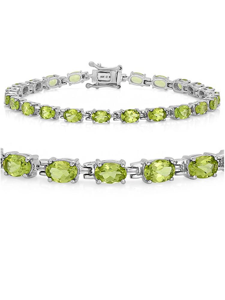 Gemstone Tennis Bracelet in Sterling Silver Choose from Blue Topaz or Peridot