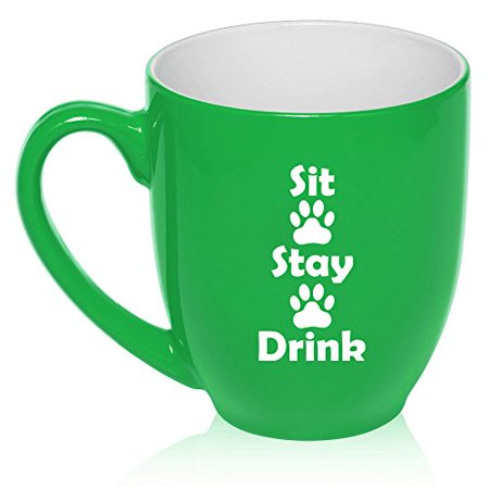 16 oz Large Bistro Mug Ceramic Coffee Tea Glass Cup Sit Stay Drink Funny Paw Prints Dog Cat Animal Lover (Green)